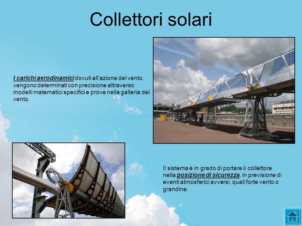 Collettori solari I carichi aerodinamici dovuti all'azione del vento, vengono determinati con precisione attraverso modelli matematici specifici e prove nella galleria del vento.