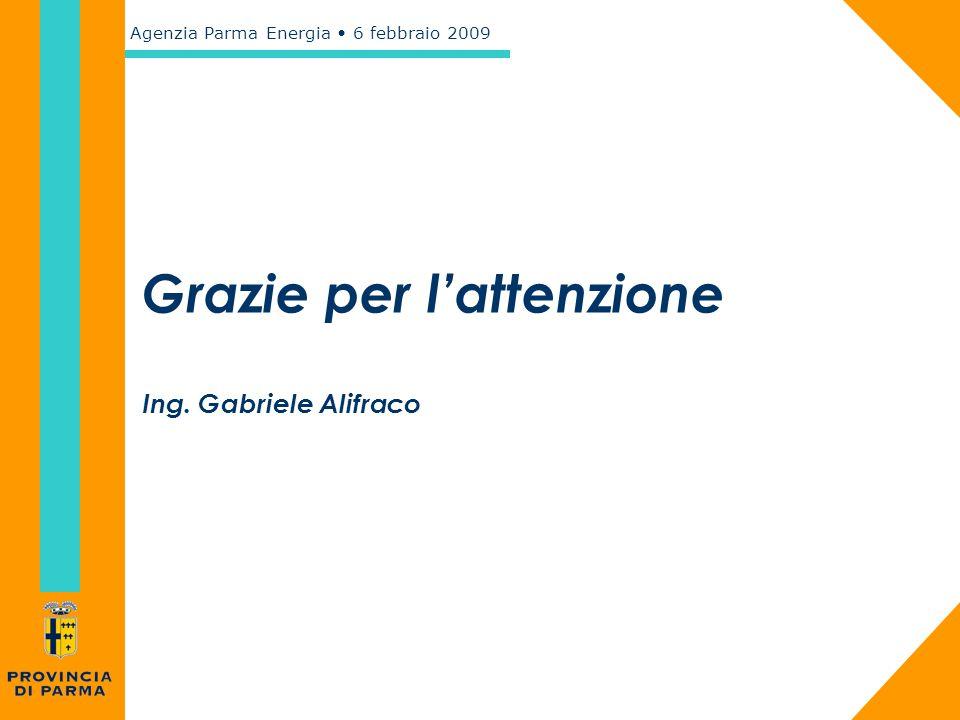 Agenzia Parma Energia 6 febbraio 2009 Grazie per l'attenzione Ing. Gabriele Alifraco