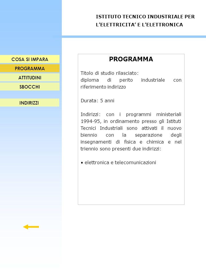 PROGRAMMA Titolo di studio rilasciato: diploma di perito industriale con riferimento indirizzo Durata: 5 anni Indirizzi: con i programmi ministeriali