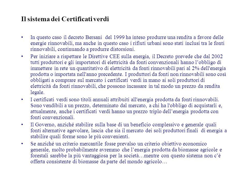 Il sistema dei Certificati verdi In questo caso il decreto Bersani del 1999 ha inteso produrre una rendita a favore delle energie rinnovabili, ma anche in questo caso i rifiuti urbani sono stati inclusi tra le fonti rinnovabili, continuando a produrre distorsioni.
