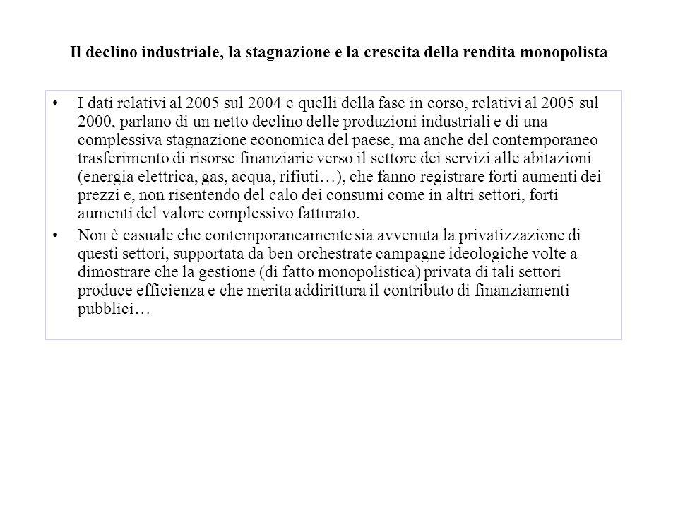 Il declino industriale, la stagnazione e la crescita della rendita monopolista I dati relativi al 2005 sul 2004 e quelli della fase in corso, relativi
