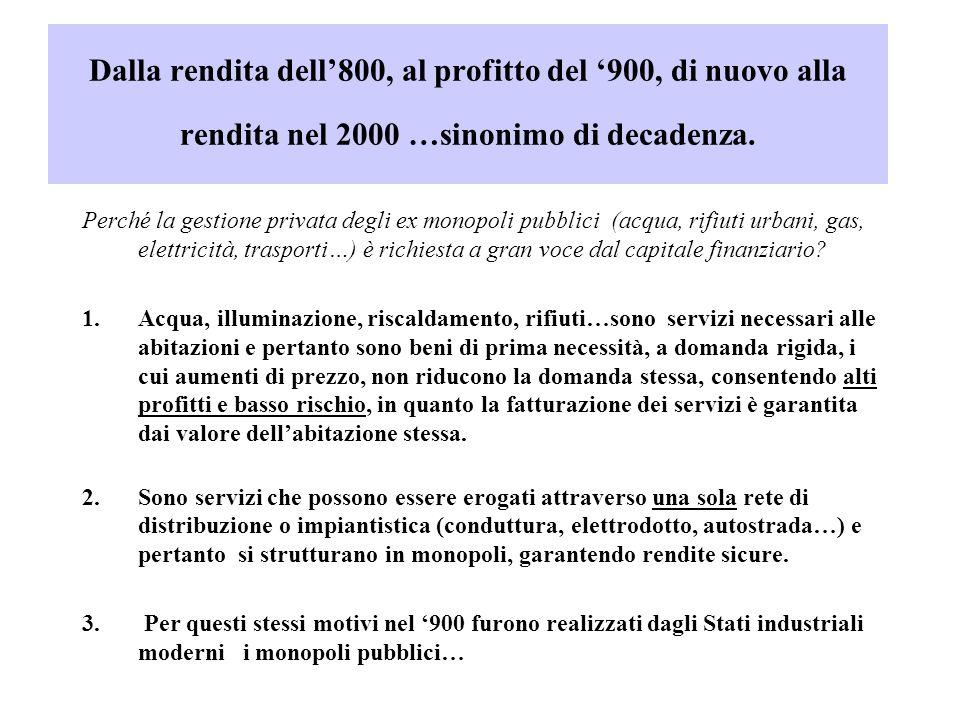 Dalla rendita dell'800, al profitto del '900, di nuovo alla rendita nel 2000 …sinonimo di decadenza.
