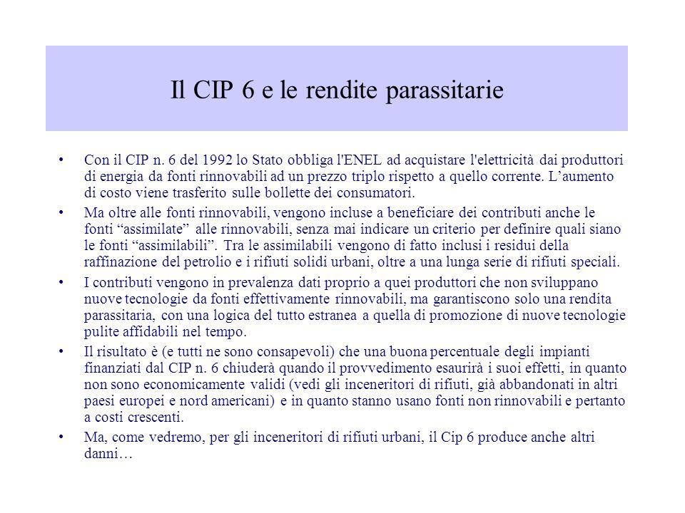 Il CIP 6 e le rendite parassitarie Con il CIP n. 6 del 1992 lo Stato obbliga l'ENEL ad acquistare l'elettricità dai produttori di energia da fonti rin