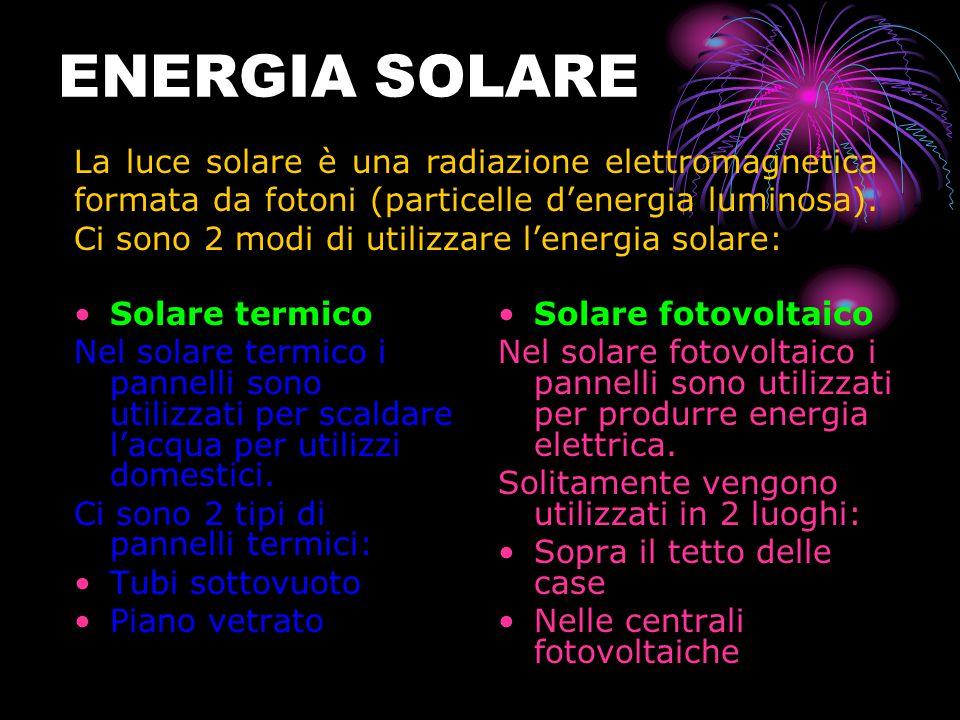 ENERGIA SOLARE Solare termico Nel solare termico i pannelli sono utilizzati per scaldare l'acqua per utilizzi domestici.