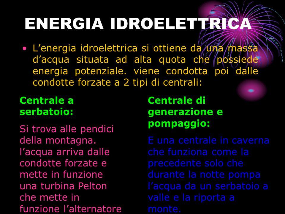 ENERGIA IDROELETTRICA L'energia idroelettrica si ottiene da una massa d'acqua situata ad alta quota che possiede energia potenziale.