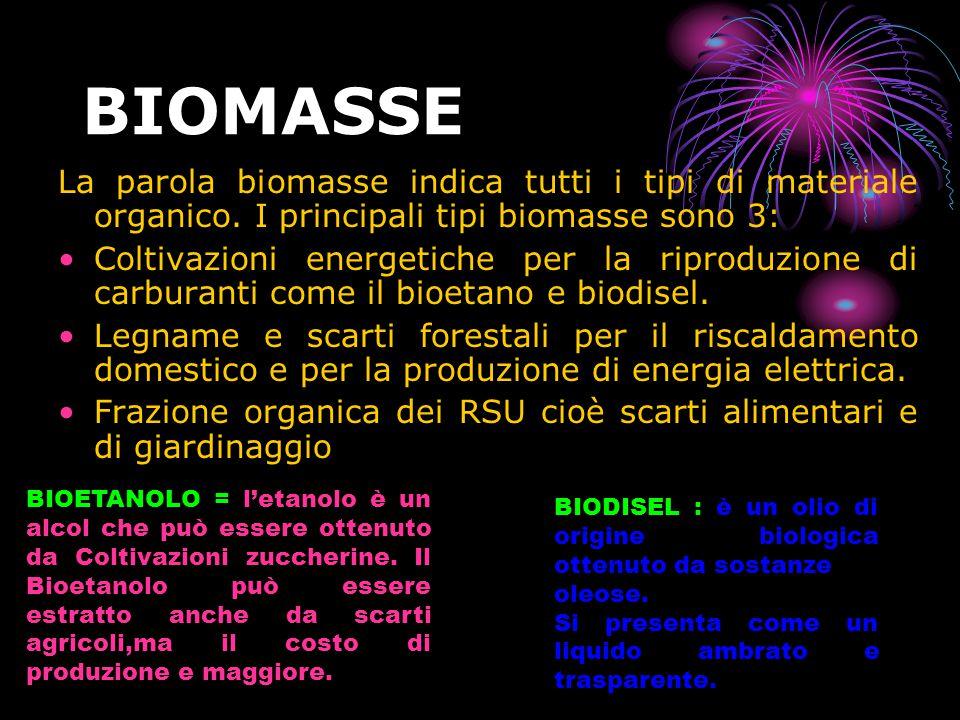 BIOMASSE La parola biomasse indica tutti i tipi di materiale organico.