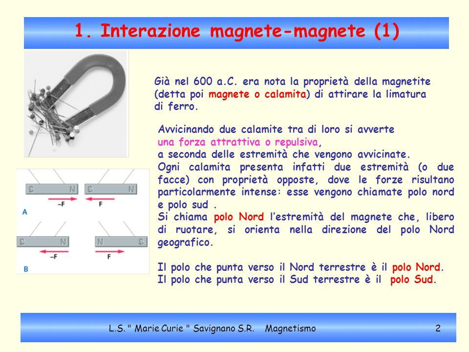 1. Interazione magnete-magnete (1) Già nel 600 a.C. era nota la proprietà della magnetite (detta poi magnete o calamita) di attirare la limatura di fe