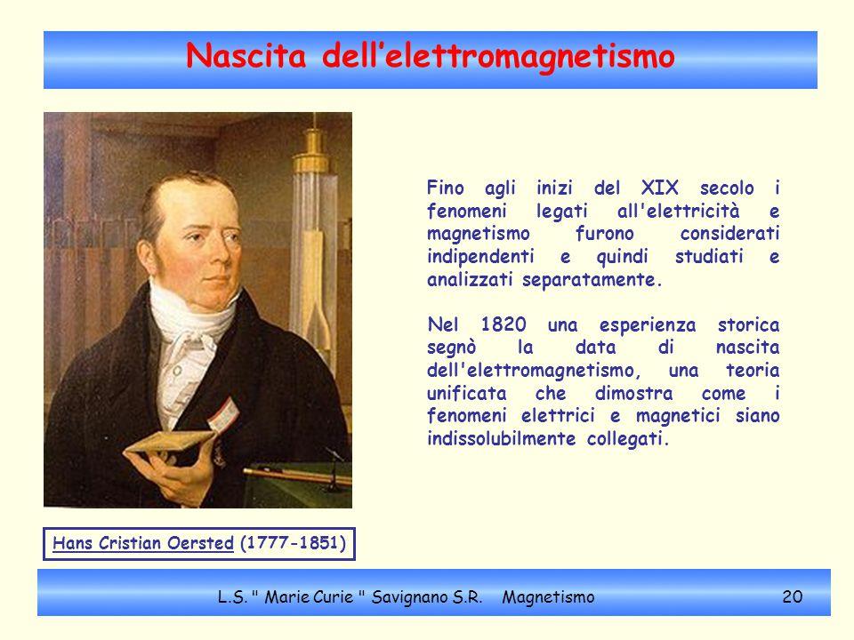 Nascita dell'elettromagnetismo Fino agli inizi del XIX secolo i fenomeni legati all'elettricità e magnetismo furono considerati indipendenti e quindi