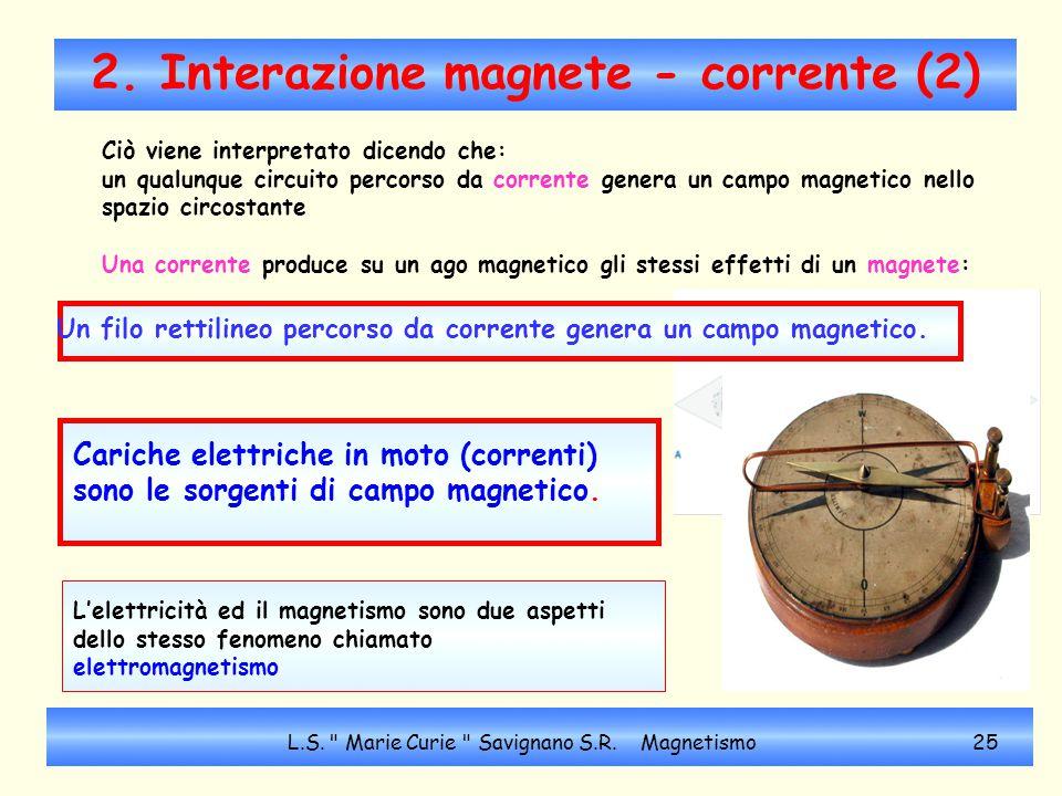 2. Interazione magnete - corrente (2) Cariche elettriche in moto (correnti) sono le sorgenti di campo magnetico. L'elettricità ed il magnetismo sono d
