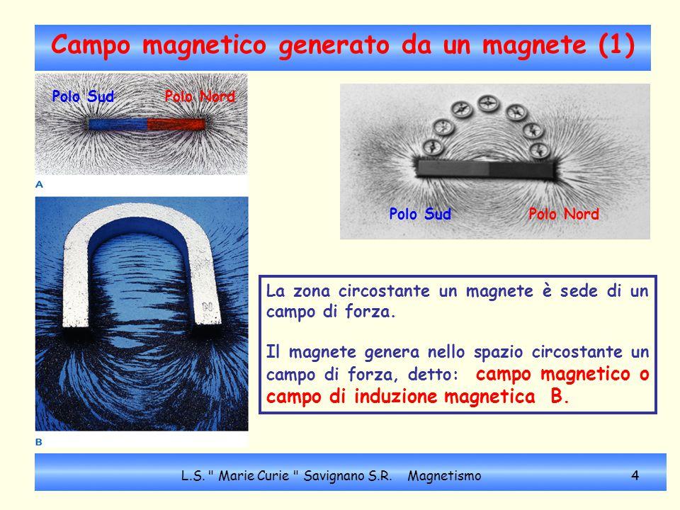 Campo magnetico: linee di forza (2) La limatura di ferro o una bussola permettono di visualizzare le linee di forza del campo magnetico.