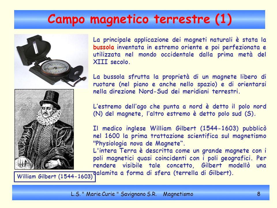 Campo magnetico terrestre (2) La Terra funziona come un gigantesco MAGNETE, con le linee di forza simili a quelle di un DIPOLO ELETTRICO.
