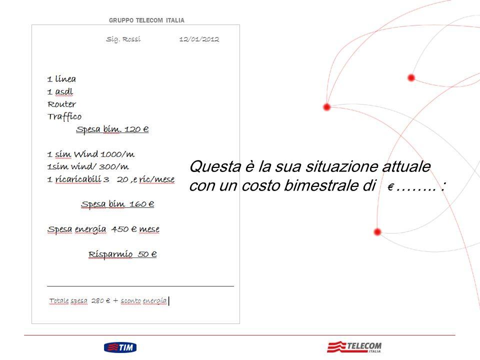 GRUPPO TELECOM ITALIA Situazione Attuale Questa è la sua situazione attuale con un costo bimestrale di € ……..