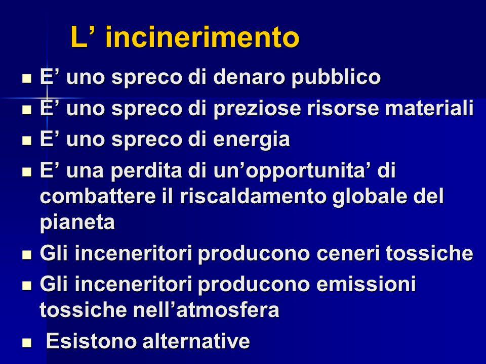 L' incinerimento L' incinerimento E' uno spreco di denaro pubblico E' uno spreco di denaro pubblico E' uno spreco di preziose risorse materiali E' uno spreco di preziose risorse materiali E' uno spreco di energia E' uno spreco di energia E' una perdita di un'opportunita' di combattere il riscaldamento globale del pianeta E' una perdita di un'opportunita' di combattere il riscaldamento globale del pianeta Gli inceneritori producono ceneri tossiche Gli inceneritori producono ceneri tossiche Gli inceneritori producono emissioni tossiche nell'atmosfera Gli inceneritori producono emissioni tossiche nell'atmosfera Esistono alternative Esistono alternative