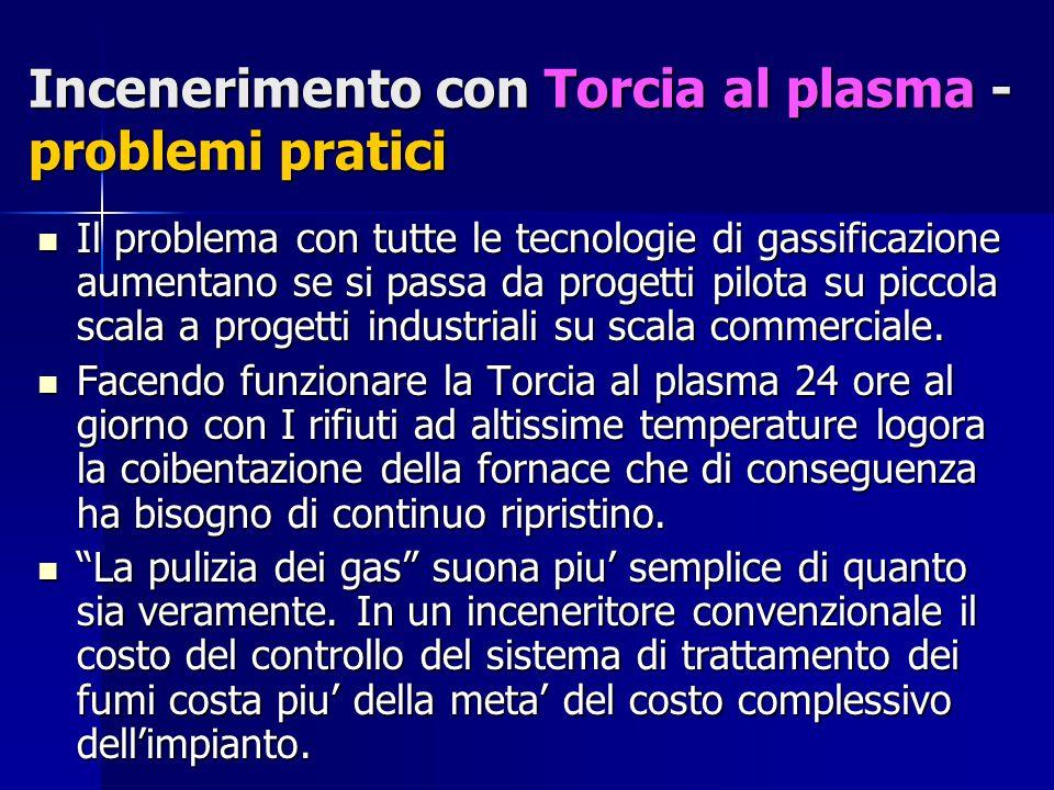 Incenerimento con Torcia al plasma - problemi pratici Il problema con tutte le tecnologie di gassificazione aumentano se si passa da progetti pilota su piccola scala a progetti industriali su scala commerciale.