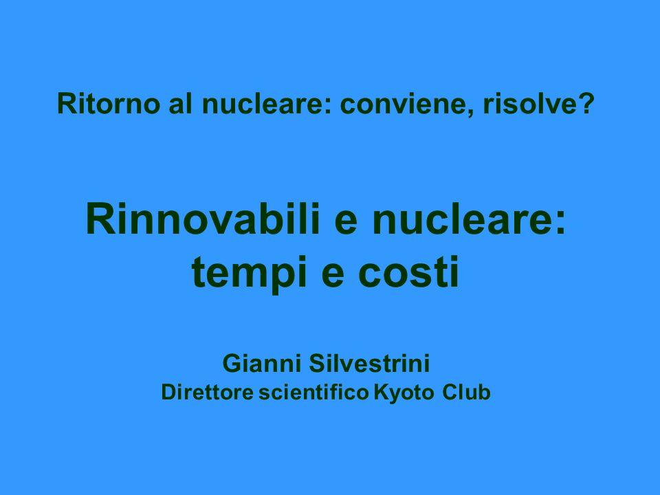 Ritorno al nucleare: conviene, risolve? Rinnovabili e nucleare: tempi e costi Gianni Silvestrini Direttore scientifico Kyoto Club