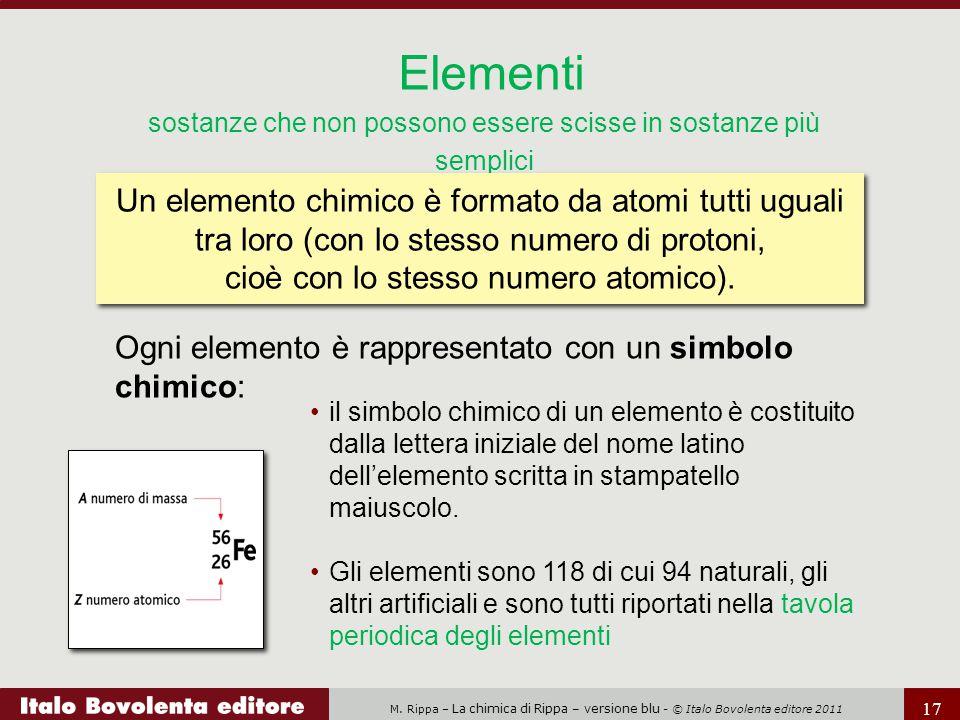 M. Rippa – La chimica di Rippa – versione blu - © Italo Bovolenta editore 2011 17 Ogni elemento è rappresentato con un simbolo chimico: Elementi sosta