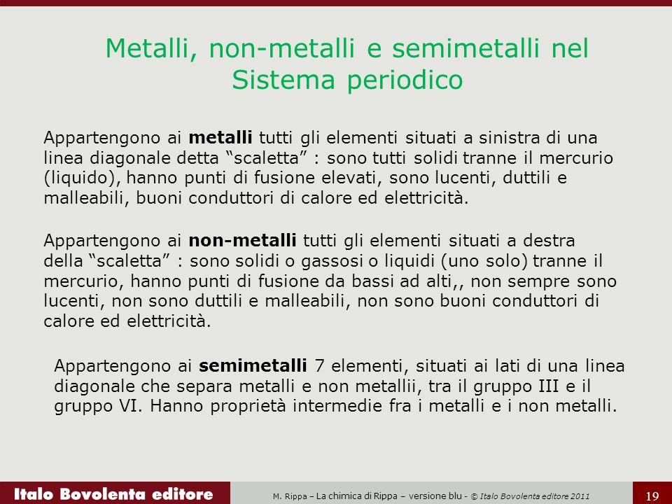 M. Rippa – La chimica di Rippa – versione blu - © Italo Bovolenta editore 2011 19 Metalli, non-metalli e semimetalli nel Sistema periodico Appartengon