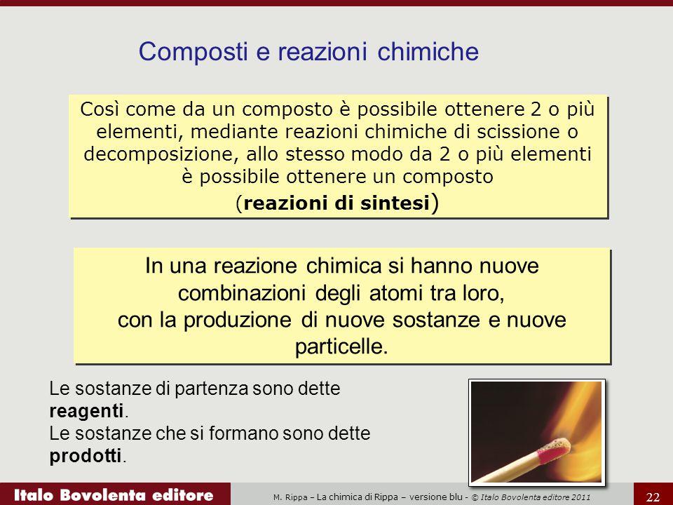 M. Rippa – La chimica di Rippa – versione blu - © Italo Bovolenta editore 2011 22 Così come da un composto è possibile ottenere 2 o più elementi, medi
