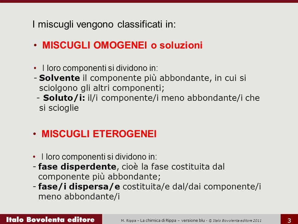 M. Rippa – La chimica di Rippa – versione blu - © Italo Bovolenta editore 2011 3 I miscugli vengono classificati in: MISCUGLI OMOGENEI o soluzioni I l