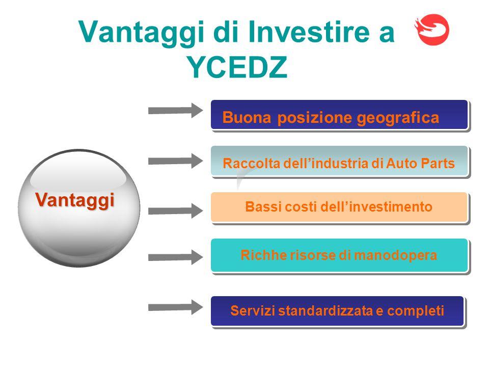 Buona posizione geografica Vantaggi Vantaggi di Investire a YCEDZ Raccolta dell'industria di Auto Parts Bassi costi dell'investimento Richhe risorse di manodopera Servizi standardizzata e completi