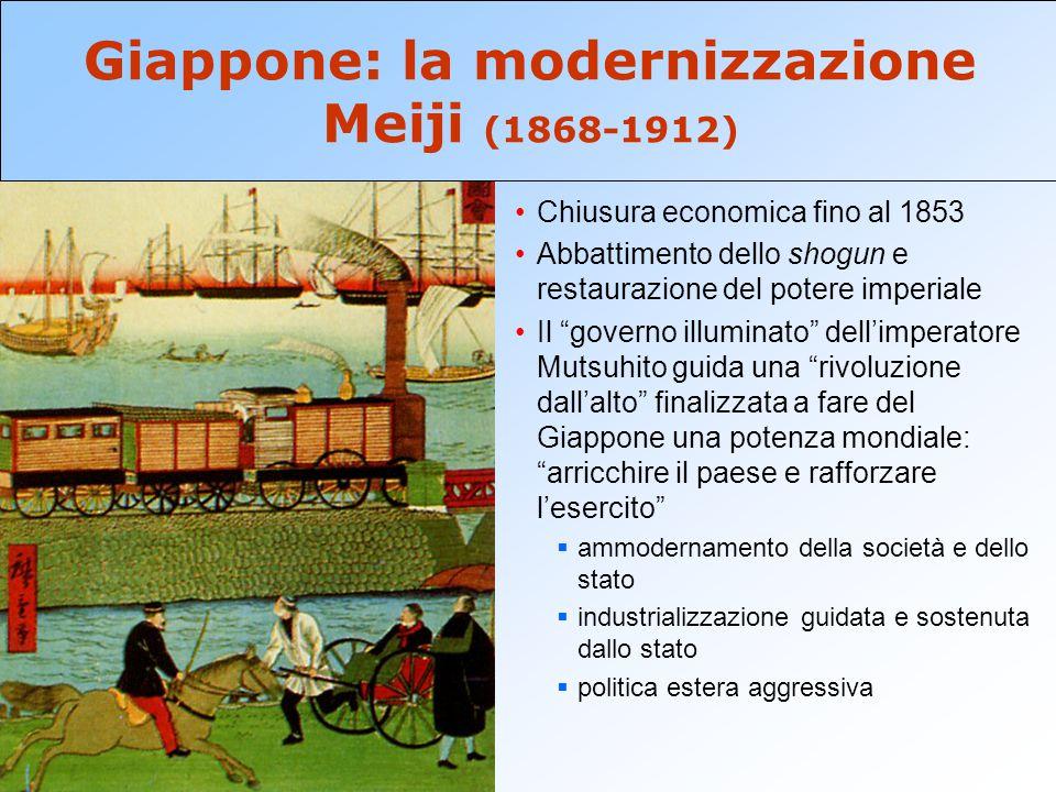 """Chiusura economica fino al 1853 Abbattimento dello shogun e restaurazione del potere imperiale Il """"governo illuminato"""" dell'imperatore Mutsuhito guida"""