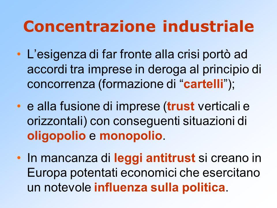 """Concentrazione industriale L'esigenza di far fronte alla crisi portò ad accordi tra imprese in deroga al principio di concorrenza (formazione di """"cart"""