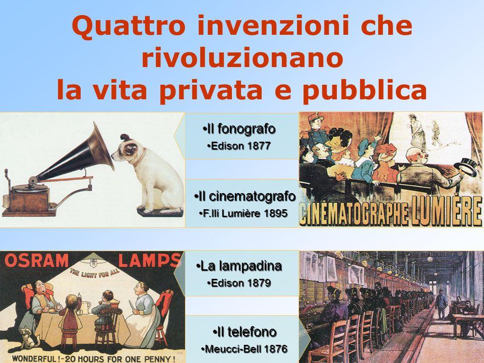 Quattro invenzioni che rivoluzionano la vita privata e pubblica Il telefonoIl telefono Meucci-Bell 1876Meucci-Bell 1876 Il cinematografoIl cinematogra