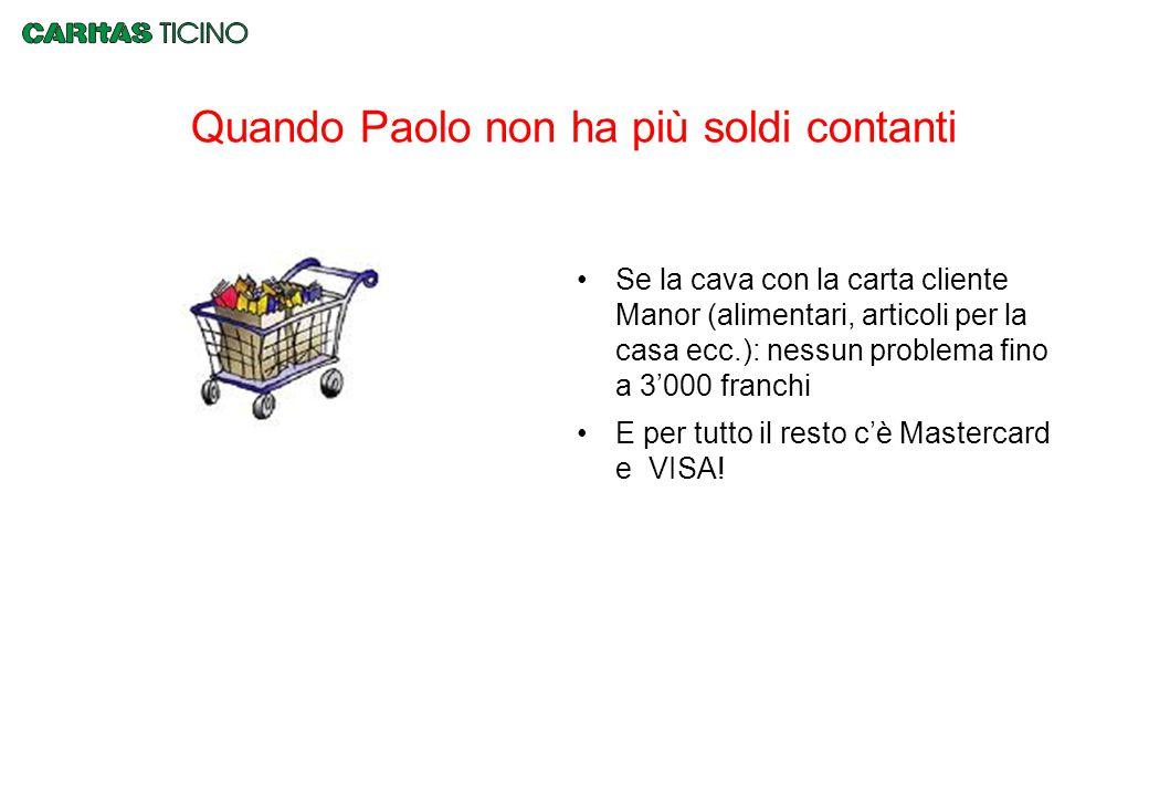 Quando Paolo non ha più soldi contanti Se la cava con la carta cliente Manor (alimentari, articoli per la casa ecc.): nessun problema fino a 3'000 fra