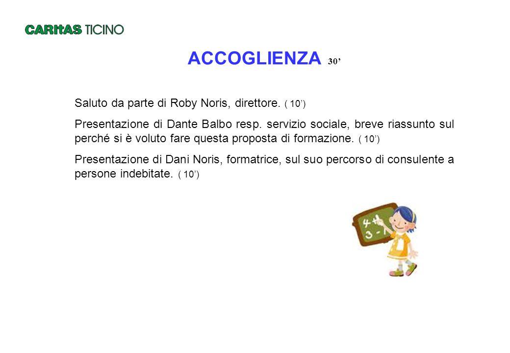ACCOGLIENZA 30' Saluto da parte di Roby Noris, direttore. ( 10') Presentazione di Dante Balbo resp. servizio sociale, breve riassunto sul perché si è