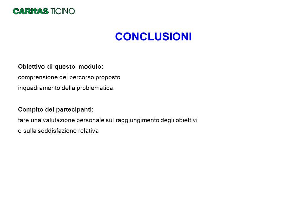 CONCLUSIONI Obiettivo di questo modulo: comprensione del percorso proposto inquadramento della problematica. Compito dei partecipanti: fare una valuta