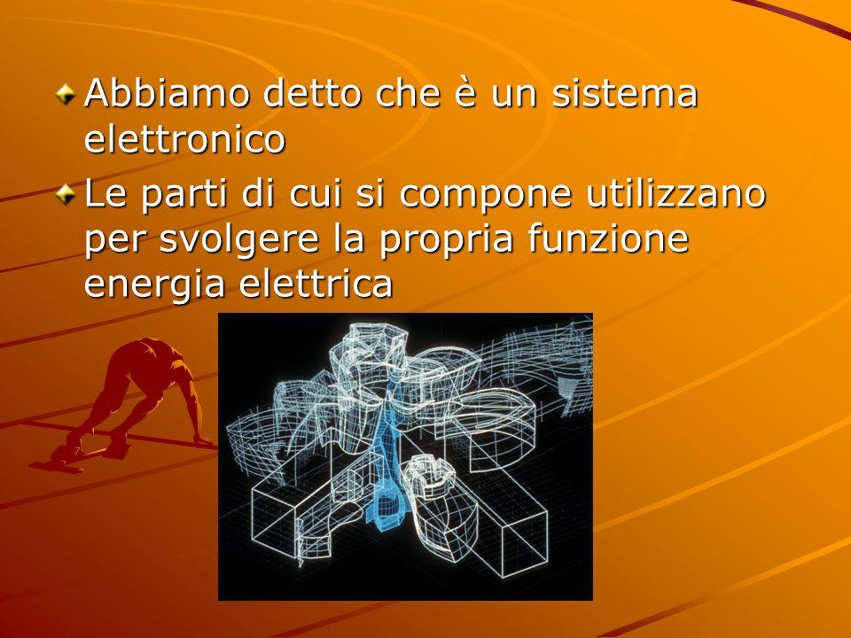 Abbiamo detto che è un sistema elettronico Le parti di cui si compone utilizzano per svolgere la propria funzione energia elettrica