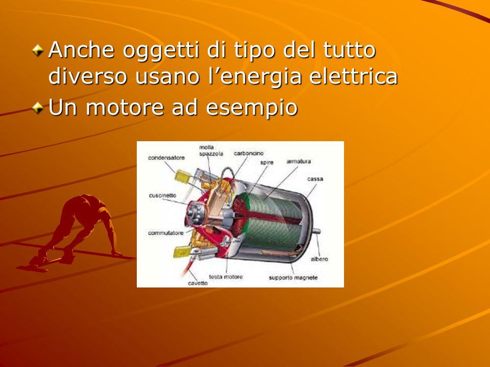 Anche oggetti di tipo del tutto diverso usano l'energia elettrica Un motore ad esempio