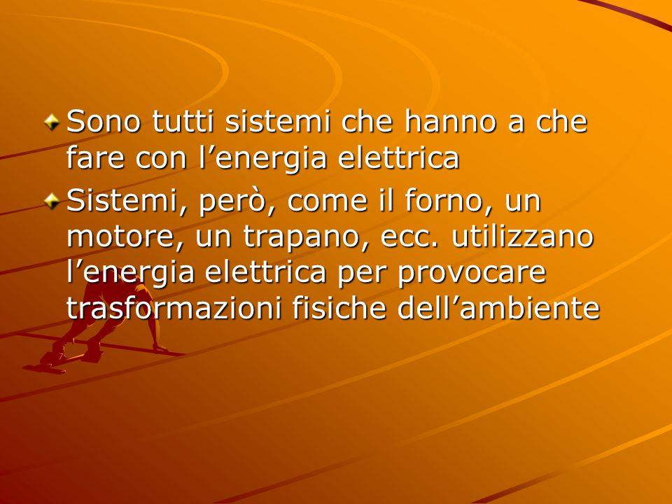 Sono tutti sistemi che hanno a che fare con l'energia elettrica Sistemi, però, come il forno, un motore, un trapano, ecc.