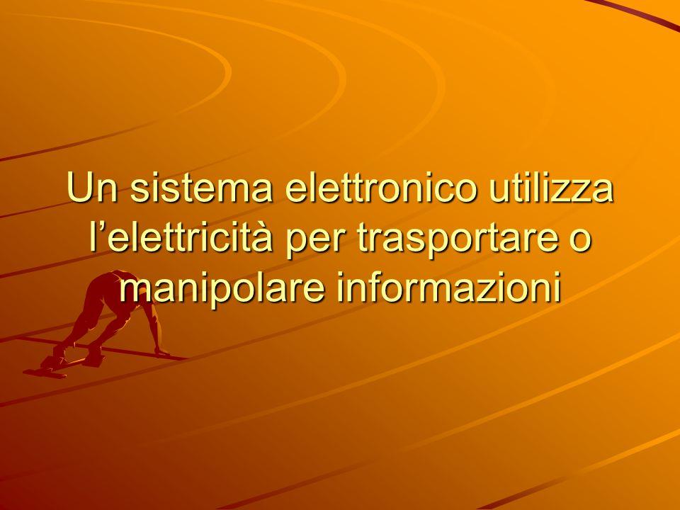 Un sistema elettronico utilizza l'elettricità per trasportare o manipolare informazioni