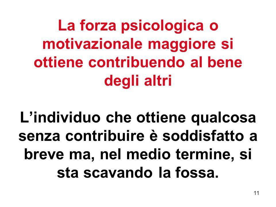 11 La forza psicologica o motivazionale maggiore si ottiene contribuendo al bene degli altri L'individuo che ottiene qualcosa senza contribuire è soddisfatto a breve ma, nel medio termine, si sta scavando la fossa.