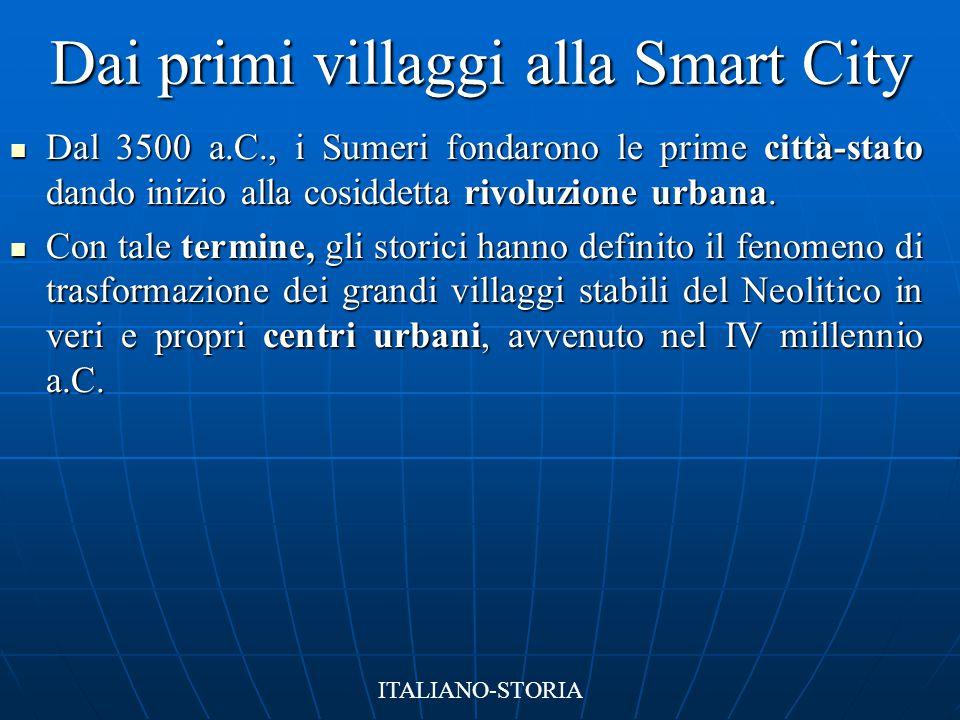 Dai primi villaggi alla Smart City Dal 3500 a.C., i Sumeri fondarono le prime città-stato dando inizio alla cosiddetta rivoluzione urbana. Dal 3500 a.