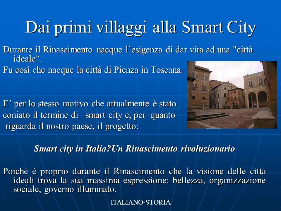 Dai primi villaggi alla Smart City Durante il Rinascimento nacque l'esigenza di dar vita ad una