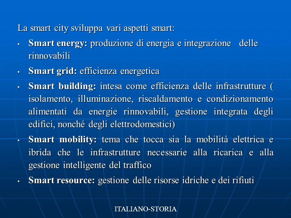 La smart city sviluppa vari aspetti smart: Smart energy: produzione di energia e integrazione delle rinnovabili Smart energy: produzione di energia e
