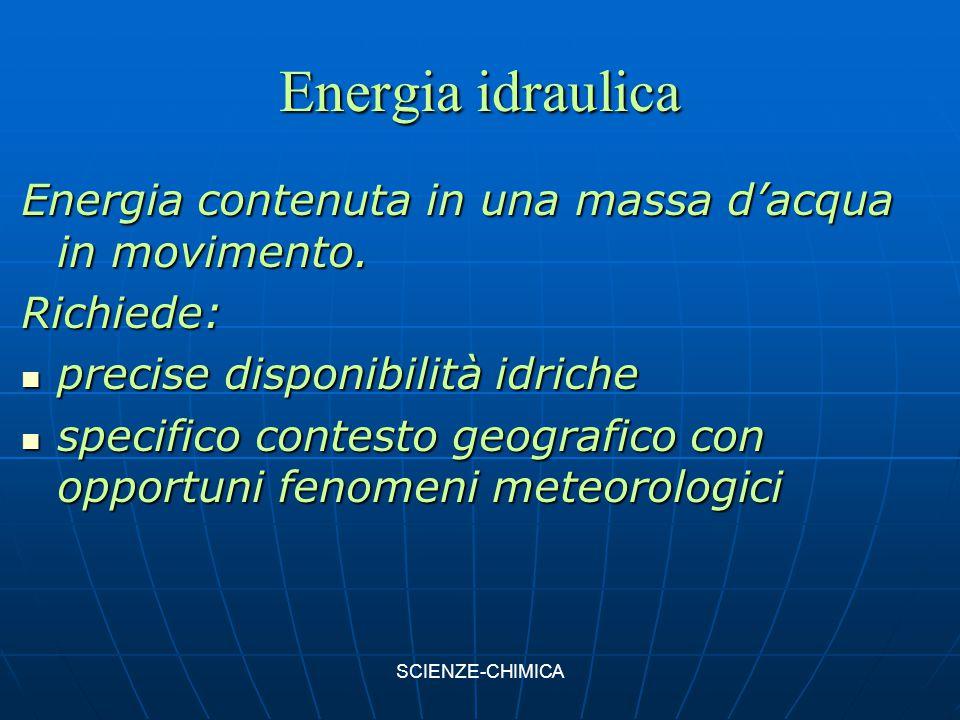 Energia idraulica Energia contenuta in una massa d'acqua in movimento. Richiede: precise disponibilità idriche precise disponibilità idriche specifico