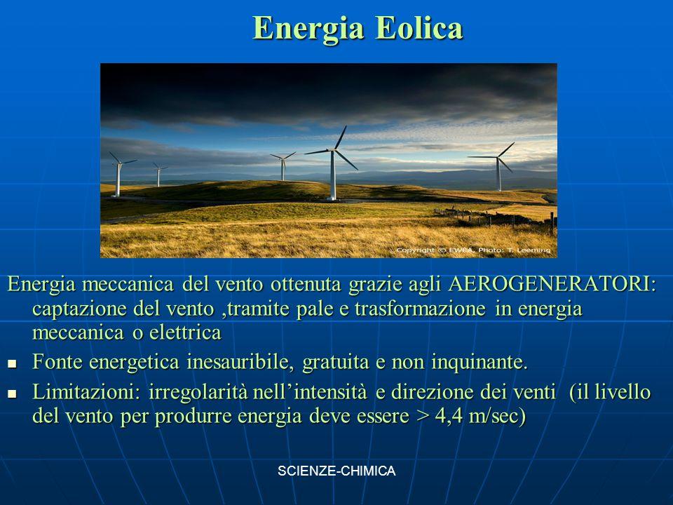 Energia Eolica Energia meccanica del vento ottenuta grazie agli AEROGENERATORI: captazione del vento,tramite pale e trasformazione in energia meccanic