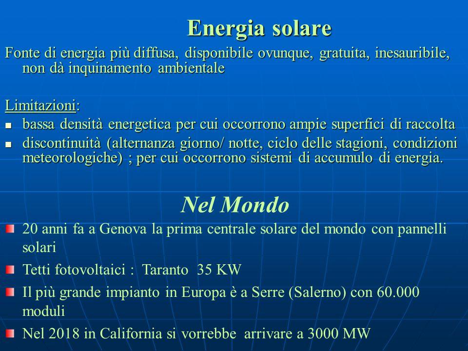 Fonte di energia più diffusa, disponibile ovunque, gratuita, inesauribile, non dà inquinamento ambientale Limitazioni: bassa densità energetica per cu