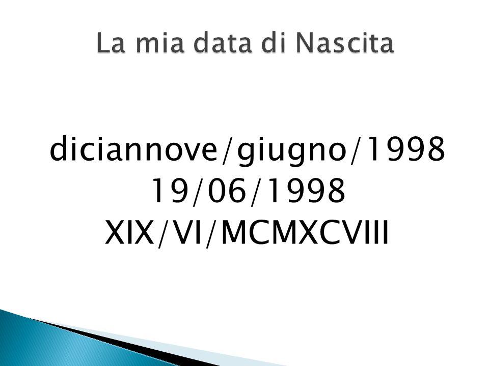 diciannove/giugno/1998 19/06/1998 XIX/VI/MCMXCVIII