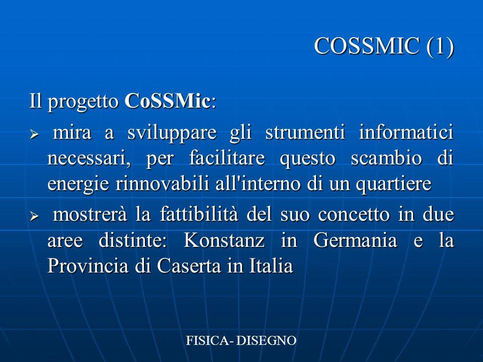 COSSMIC (1) Il progetto CoSSMic:  mira a sviluppare gli strumenti informatici necessari, per facilitare questo scambio di energie rinnovabili all'int
