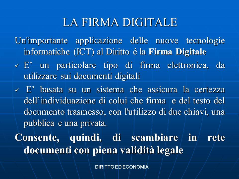 LA FIRMA DIGITALE Un'importante applicazione delle nuove tecnologie informatiche (ICT) al Diritto é la Firma Digitale E' un particolare tipo di firma