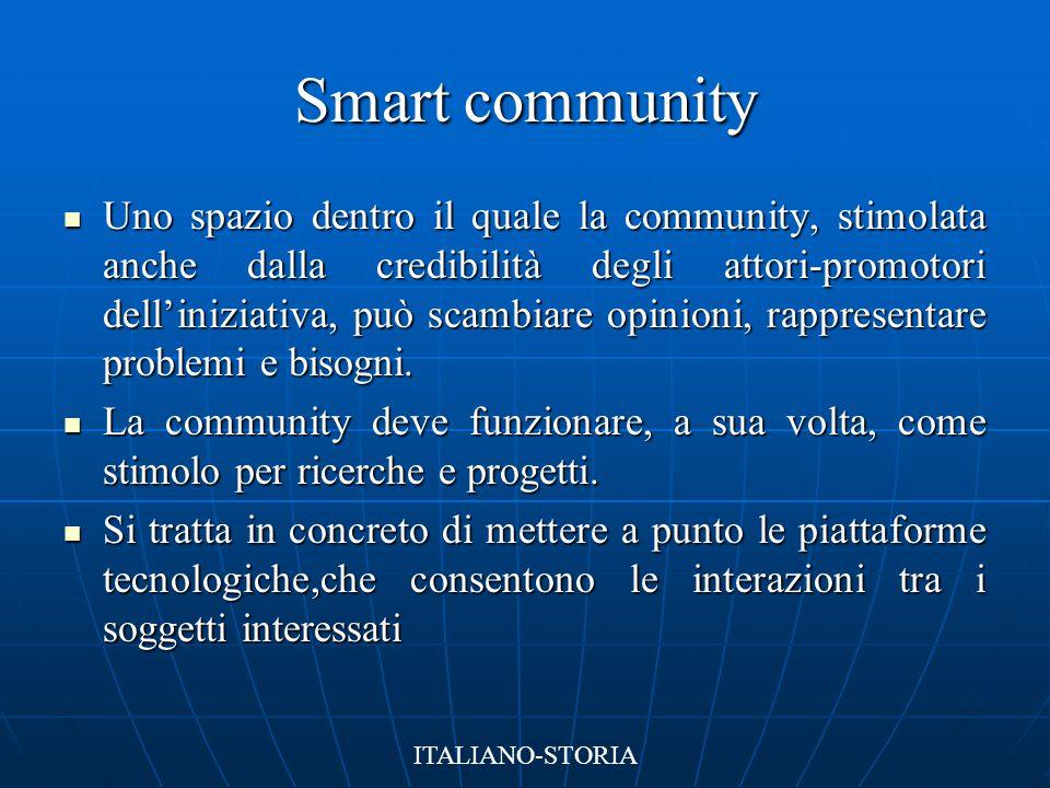 Smart City Un ambiente urbano in grado di migliorare la qualità di vita dei cittadini, molto avanzato in diversi campi:  Ambiente  Tecnologia  Logistica  Trasporti ITALIANO-STORIA