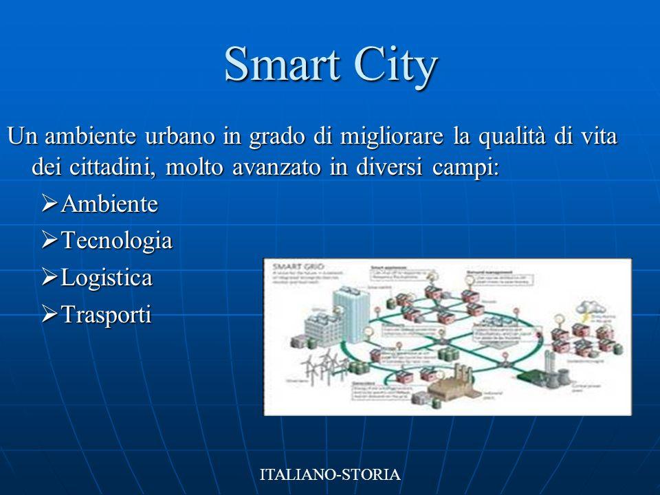 Smart City Un ambiente urbano in grado di migliorare la qualità di vita dei cittadini, molto avanzato in diversi campi:  Ambiente  Tecnologia  Logi