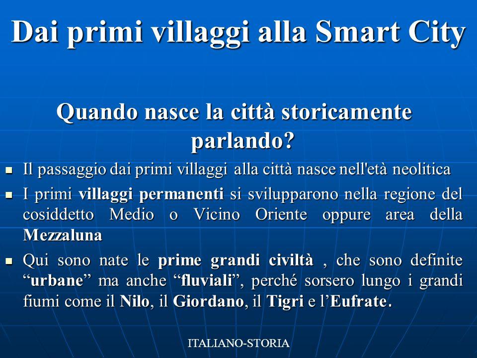 Dai primi villaggi alla Smart City Quando nasce la città storicamente parlando? Il passaggio dai primi villaggi alla città nasce nell'età neolitica Il