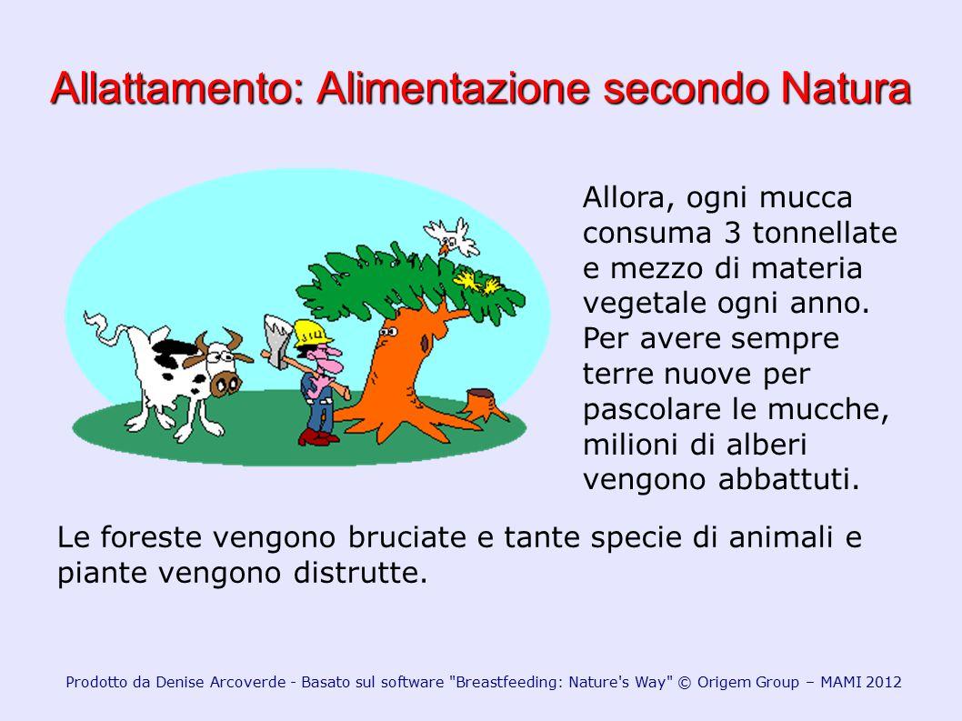 Allattamento: Alimentazione secondo Natura Allora, ogni mucca consuma 3 tonnellate e mezzo di materia vegetale ogni anno. Per avere sempre terre nuove