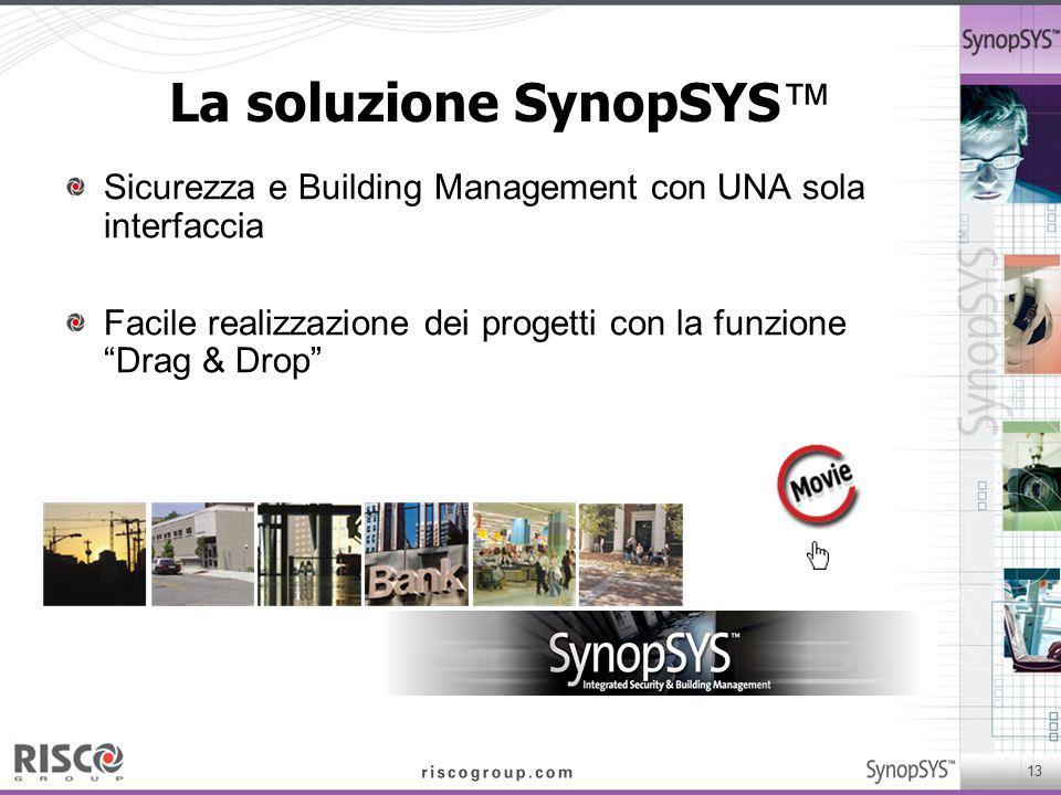 """13 La soluzione SynopSYS ™ Sicurezza e Building Management con UNA sola interfaccia Facile realizzazione dei progetti con la funzione """"Drag & Drop"""""""
