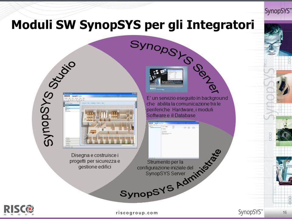 16 Moduli SW SynopSYS per gli Integratori Disegna e costruisce i progetti per sicurezza e gestione edifici E' un servizio eseguito in background che a